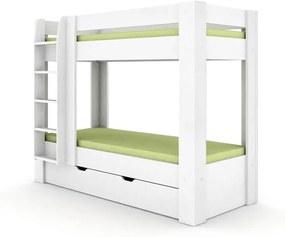 DREVONA09 Poschodová posteľ REA PIKACHU biela, ľavá