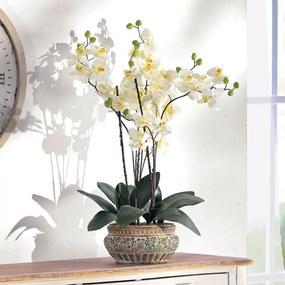 Umelá orchidea v keramickom kvetináči