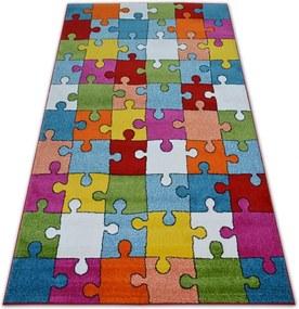 MAXMAX Detský koberec Puzzle farebný