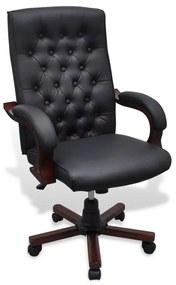Čierne kancelárske kreslo z umelej kože Chesterfield