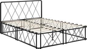 [en.casa]® Kovová manželská posteľ - 140 x 200 cm - čierna - s roštom