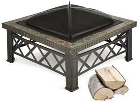 Merano, ohnisko, 75 x 75 cm, grilovací rošt, dlaždicový dizajn, oceľ, čiernené