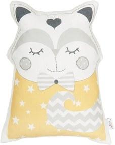 Žltý detský vankúšik s prímesou bavlny Apolena Pillow Toy Smart Cat, 23 x 33 cm