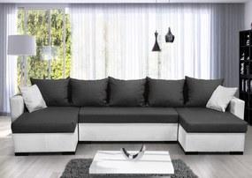 Moderná rohová sedacia súprava Karlos U, čierna / tmavo sivá