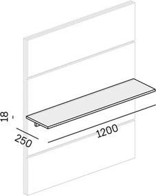 PLAN Polica dlhšia pre nástenné panely BOARDS wood, grafitová