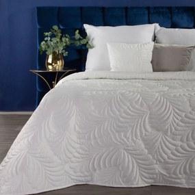 DomTextilu Fenomenálny biely zamatový prehoz na posteľ s motívom listov Šírka: 220 cm | Dĺžka: 240 cm 39951-184022