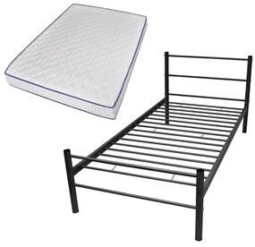 Kovová jednolôžková posteľ s matracom pamäťovou penou, čierna, 90x200 cm
