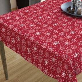 Goldea vianočný bavlnený obrus - vzor snehové vločky na červenom 80 x 120 cm