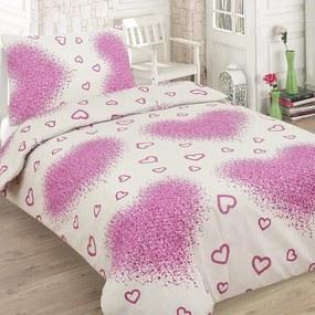 HOD Bavlnené obliečky HEART fialové 140x200cm