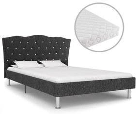 vidaXL Posteľ s matracom, tmavosivá, látka 140x200 cm