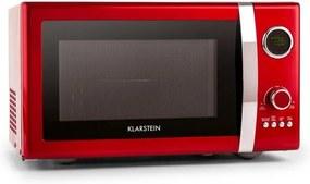 Klarstein Fine Dinesty, 1000 W, 23 l, 2 v 1 mikrovlnná rúra, retro, 12 programov, červená