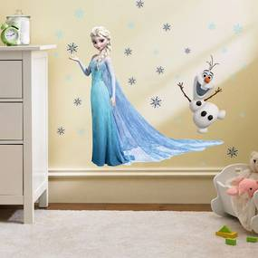 """Samolepka na stenu """"Elsa a Olaf"""" 78x65 cm"""