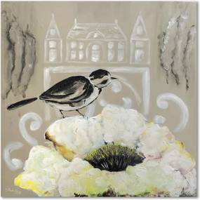 CARO Obraz na plátne - White Flower And Black Bird 20x20 cm