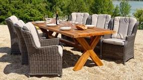 Norwick teak Chester antracit záhradná stolová súprava