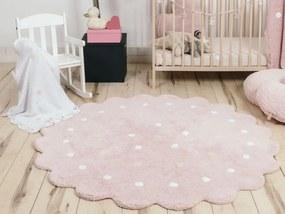 LC Okrúhly prateľný koberec Dots Pink