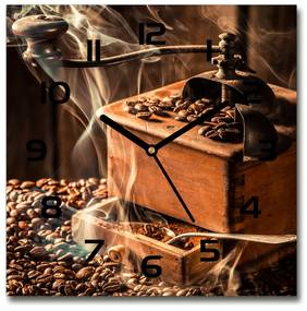Sklenené hodiny štvorec Zrnká kávy pl_zsk_30x30_f_118694149