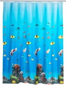 Modrý sprchový záves Wenko Ocean, 180 × 200 cm