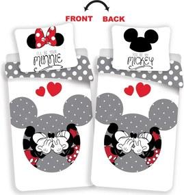 Jerry Fabrics Bavlnené obliečky Mickey a Minnie Love grey, 140 x 200 cm, 70 x 90 cm