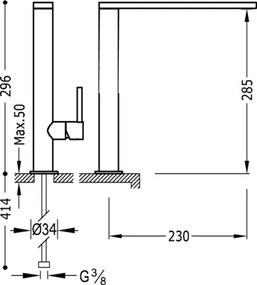TRES - Jednopáková umyvadlová baterie ramínko 34x9 mm (06290501)