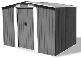 vidaXL Záhradná kovová úložná kôlňa, šedá, 257x205x178 cm