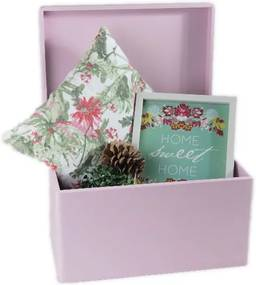 ČistéDrevo Dřevěný box s víkem 40x30x23 cm - růžový