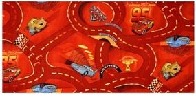 Vopi koberce Metrážový koberec The World of Cars 10 červený - Rozměr na míru s obšitím cm