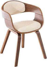 Konferenčná / jedálenská stolička Kindom orech (Súprava 2 ks), krémová