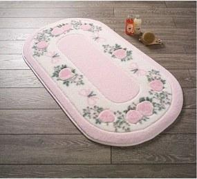 Ružová predložka do kúpeľne Confetti Rose Frame, 80 × 140 cm