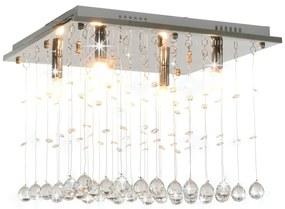 vidaXL Stropná lampa s kryštálovými korálkami strieborná štvorcová G9