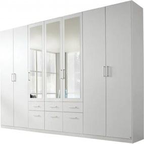 Sconto Šatníková skriňa BAYLEE alpská biela, 7-dverová s 3 zrkadlami