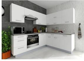 Sconto Rohová kuchynská zostava FACHMAN B5, 217x217 cm biela vysoký lesk