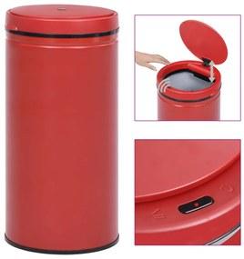 vidaXL Automatický odpadkový kôš, senzor 70 l, uhlíková oceľ, červený