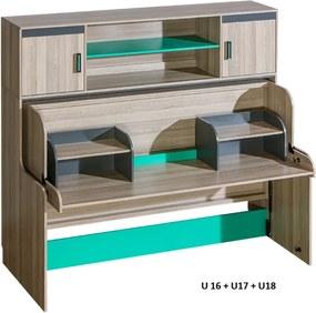 Multifunkčná posteľ a stôl 2v1 UNI 16 police na stôl U18