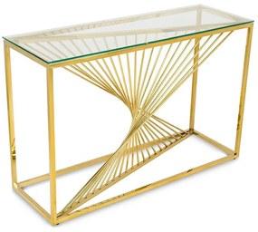DekorStyle Konzolový stolík LAINE zlatý