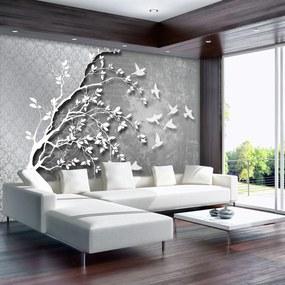 Fototapeta - Strieborný strom s vtáčikmi (152,5x104 cm), 10 ďalších rozmerov