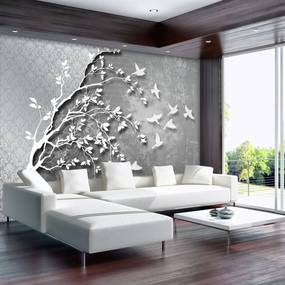 Fototapeta - Strieborný strom s vtáčikmi (254x184 cm), 10 ďalších rozmerov