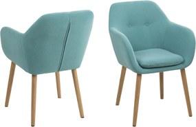 Modrá jedálenská stolička Emilia s gombíkmi