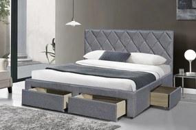 HALMAR Betina 160 čalúnená manželská posteľ s roštom sivá