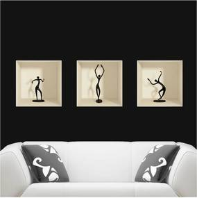 Sada 3 samolepiek s 3D efektom Ambiance Dancing Figures