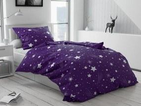 Bavlnené obliečky Nočná obloha fialová