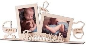 ČistéDrevo Drevený fotorámik s pôrodnými údajmi