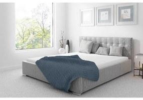 Čalúnená posteľ Soffio s úložným priestorom svetlo šedá 200 x 200
