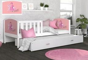 Expedo Detská posteľ DOBBY P2 s obojstrannou potlačou + matrac + rošt ZADARMO, 184x80 cm, biela/vzor 09