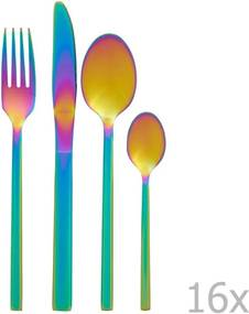Sada 16 príborov s dúhovým efektom Premier Housowares Rainbow
