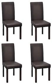 vidaXL Jedálenské stoličky z hnedej umelej kože  4 ks