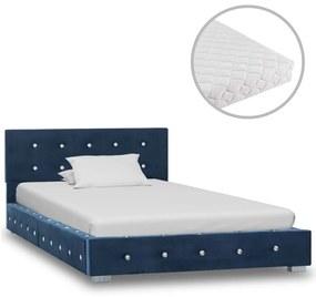 vidaXL Posteľ s matracom modrá 90x200 cm zamatová