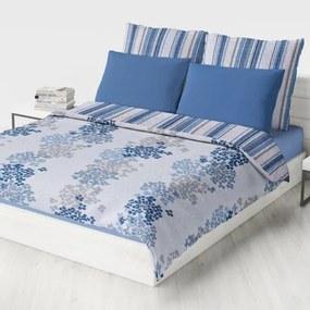 Domarex Prehoz na posteľ Obojstranný Essentials 220 x 240 Pásiky a kvety Modrá