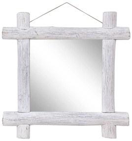 vidaXL Guľatinové zrkadlo biele 70x70 cm masívne recyklované drevo