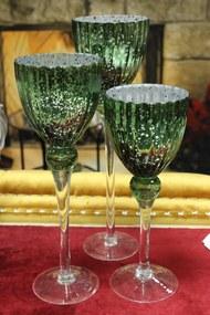 Zelené sklenené svietniky na stopke 3-set