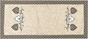BO-MA Trading Vianočný obrus Srdiečka bodka sivá, 40 x 90 cm